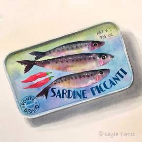 #Doodlewash - Watercolor Illustration by Leyla Torres of sardines - #WorldWatercolorGroup