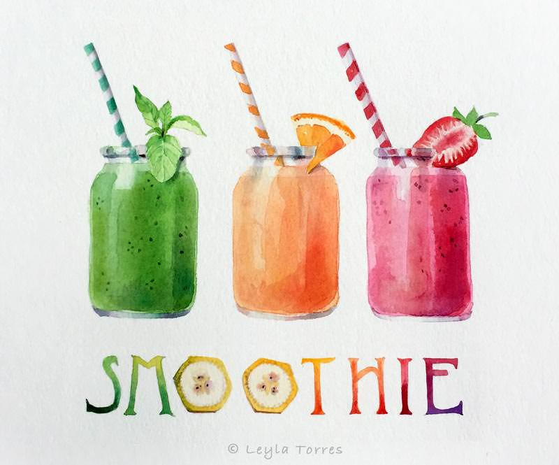 #Doodlewash - Watercolor Illustration by Leyla Torres of smoothies - #WorldWatercolorGroup