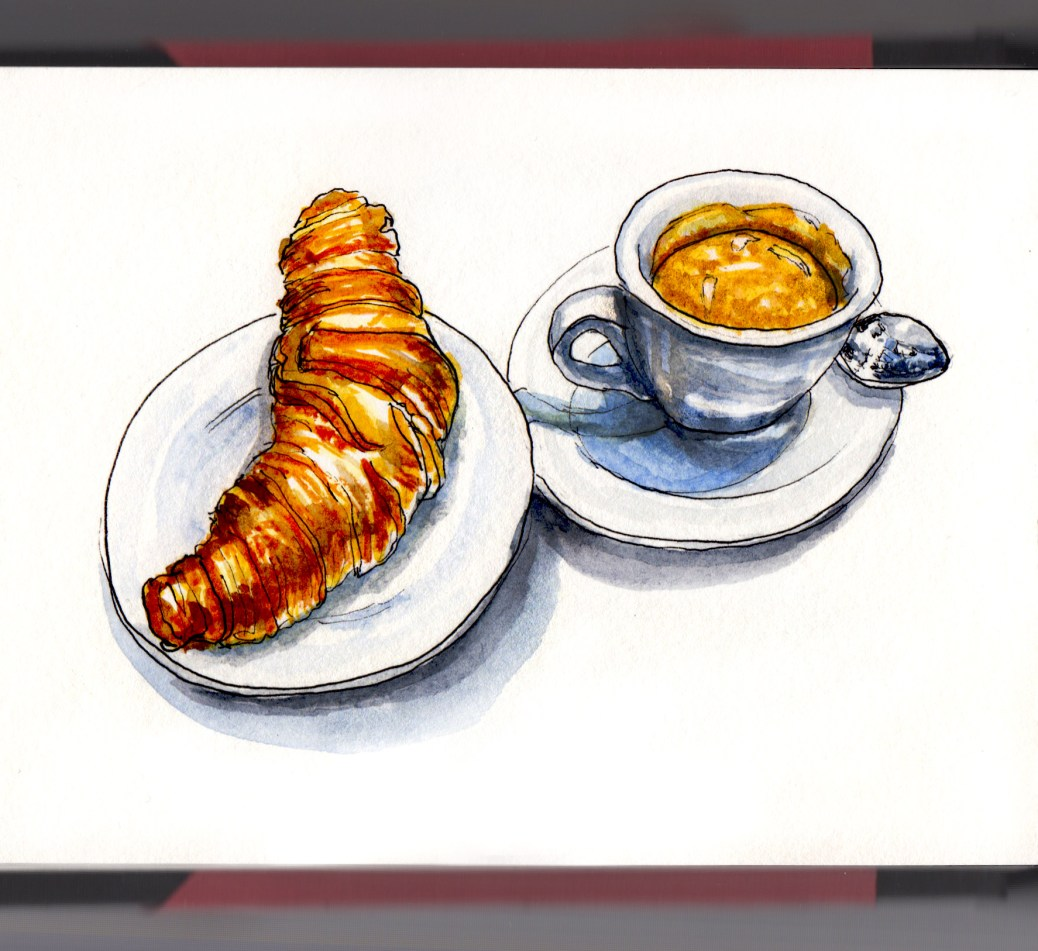 Day 1 - #WorldWatercolorGroup Croissant and Espresso watercolor on white background