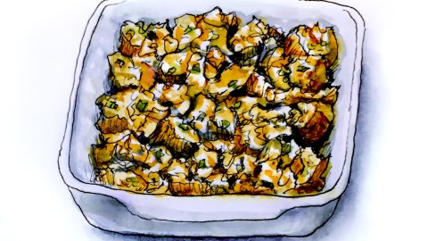 Day 21 - #WorldWatercolorGroup Thanksgiving Stuffing food bread in bowl
