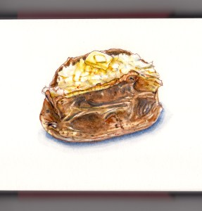 Day 6 - #WorldWatercolorGroup Baked Potato With Butter watercolor sketch