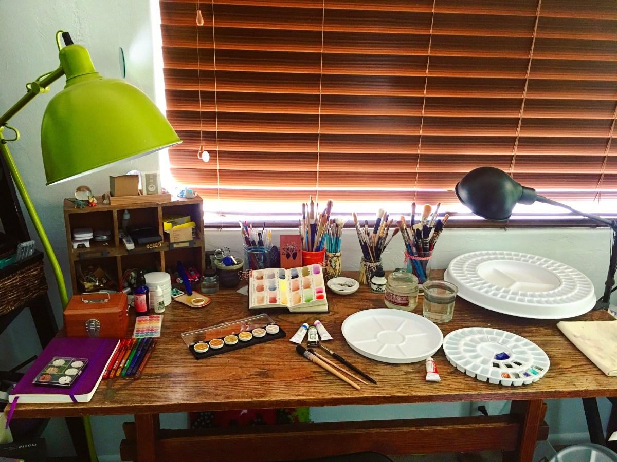 Robax palette, art space, studio, desk, Jessica seacrest's art space, art supplies, stillman and birn, finetec