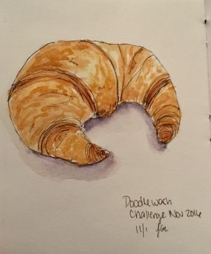 #WorldWatercolorGroup - Watercolor painting of croissant by Jackie