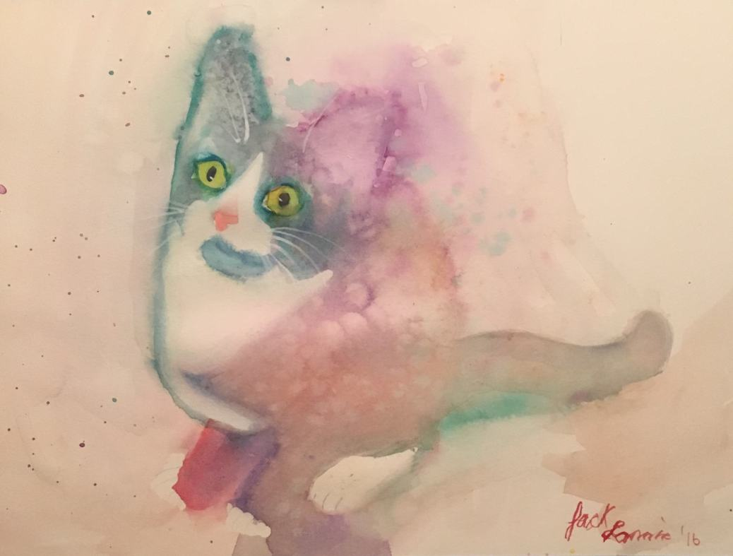 "#WorldWatercolorGroup - Watercolor painting of cat by Jackie ""Watercolor Gypsy"" - #doodlewash"