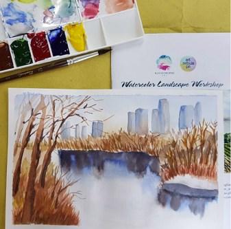 #WorldWatercolorGroup - Watercolor by Lynda Monteverde of landscape - #doodlewash