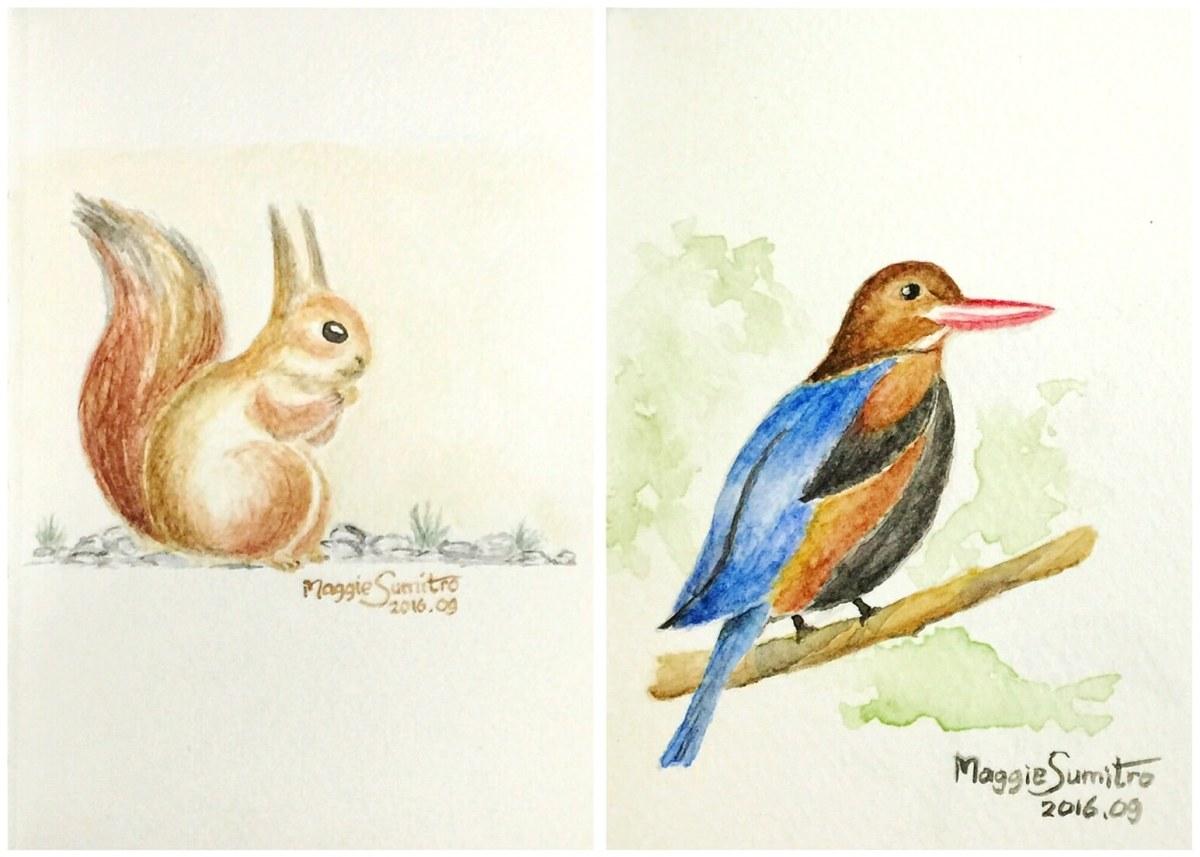 #WorldWatercolorGroup - Watercolor by Maggie Sumitro - Squirrel and Bird - #doodlewash