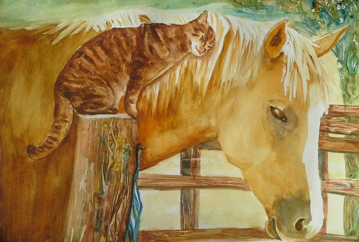 #WorldWatercolorGroup - watercolor of horse and cat by Agnès McLaughlin - #doodlewash