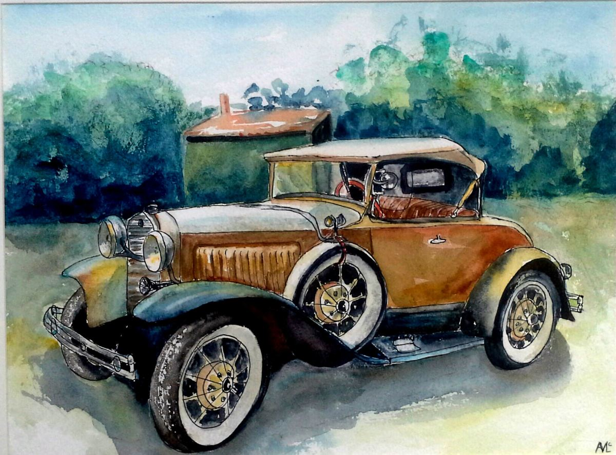 #WorldWatercolorGroup - watercolor of vintage yellow car by Agnès McLaughlin - #doodlewash #usk