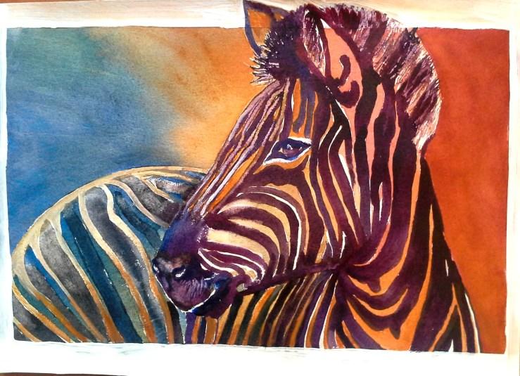#WorldWatercolorGroup - watercolor of zebra by Agnès McLaughlin - #doodlewash