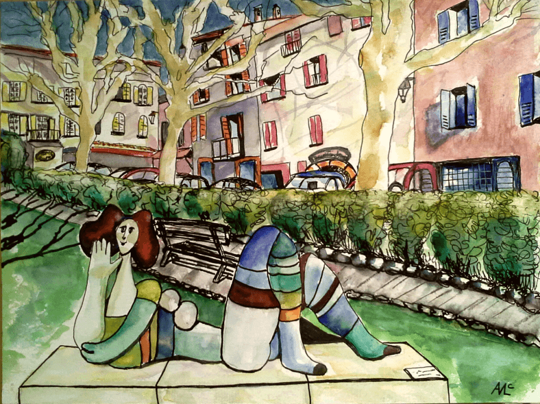 #WorldWatercolorGroup - watercolor of valbonne parc with statue by Agnès McLaughlin - #doodlewash #usk