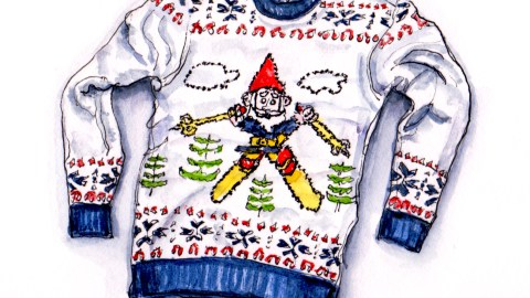 Day 10 - #WorldWatercolorGroup Ugly Christmas Sweater Santa Elf Skiing men's women's