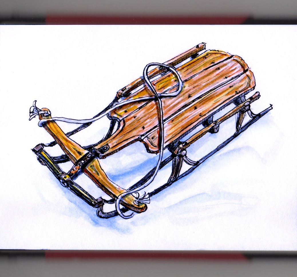 Day 2 - #WorldWatercolorGroup Winter wooden sled sledding in snow kids