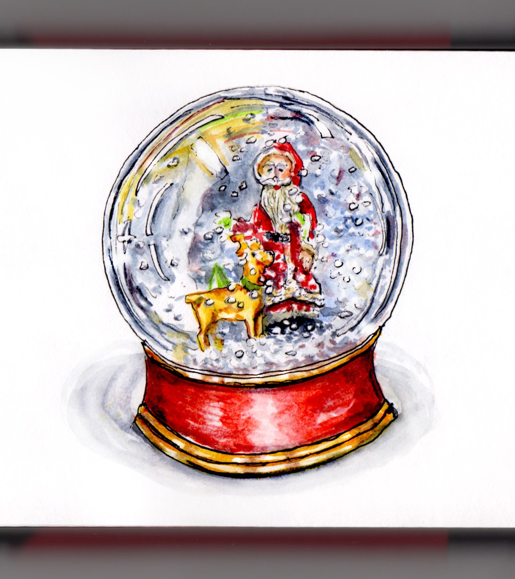 Day 21 - Santa and Reindeer Snow Globe with red and gold base watercolor sketch