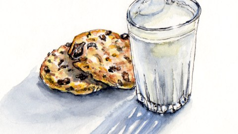 Day 24 - #WorldWatercolorGroup Milk and Cookies for Santa on Christmas Eve watercolor #doodlewash