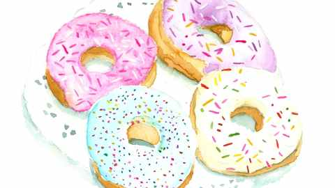#WorldWatercolorGroup - Watercolor illustration of donuts by Jody Linn - #doolewash