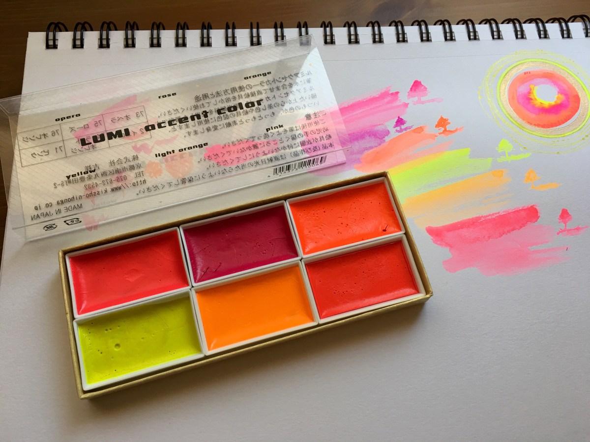 Kissho Gansai Lumi Accent Colors florescent watercolors mandala by jessica seacrest