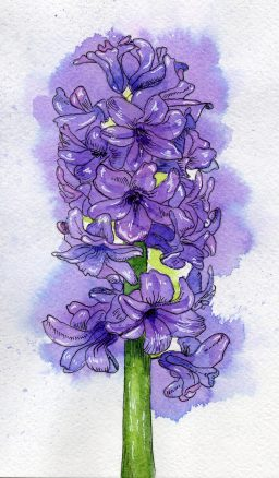 #WorldWatercolorGroup - Watercolor painting by Juliana Danilina in Odessa, Ukraine of purple flowers - #doodlewash