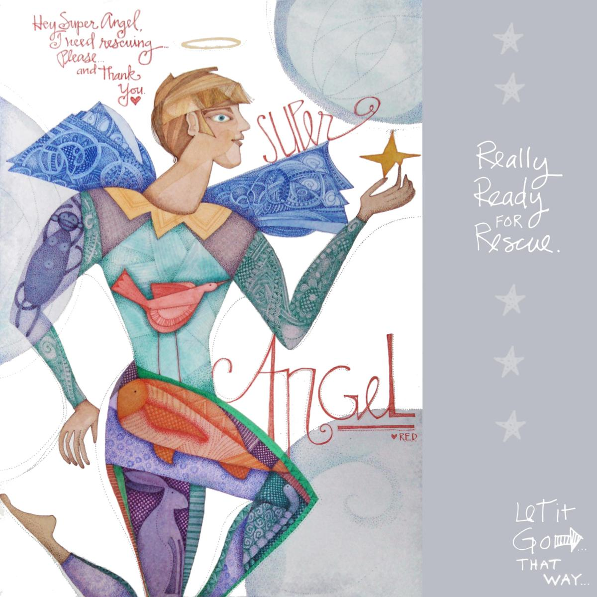 #WorldWatercolorGroup - Angel illustration by R.E.D. (Richard Eric Disney) - #doodlewash