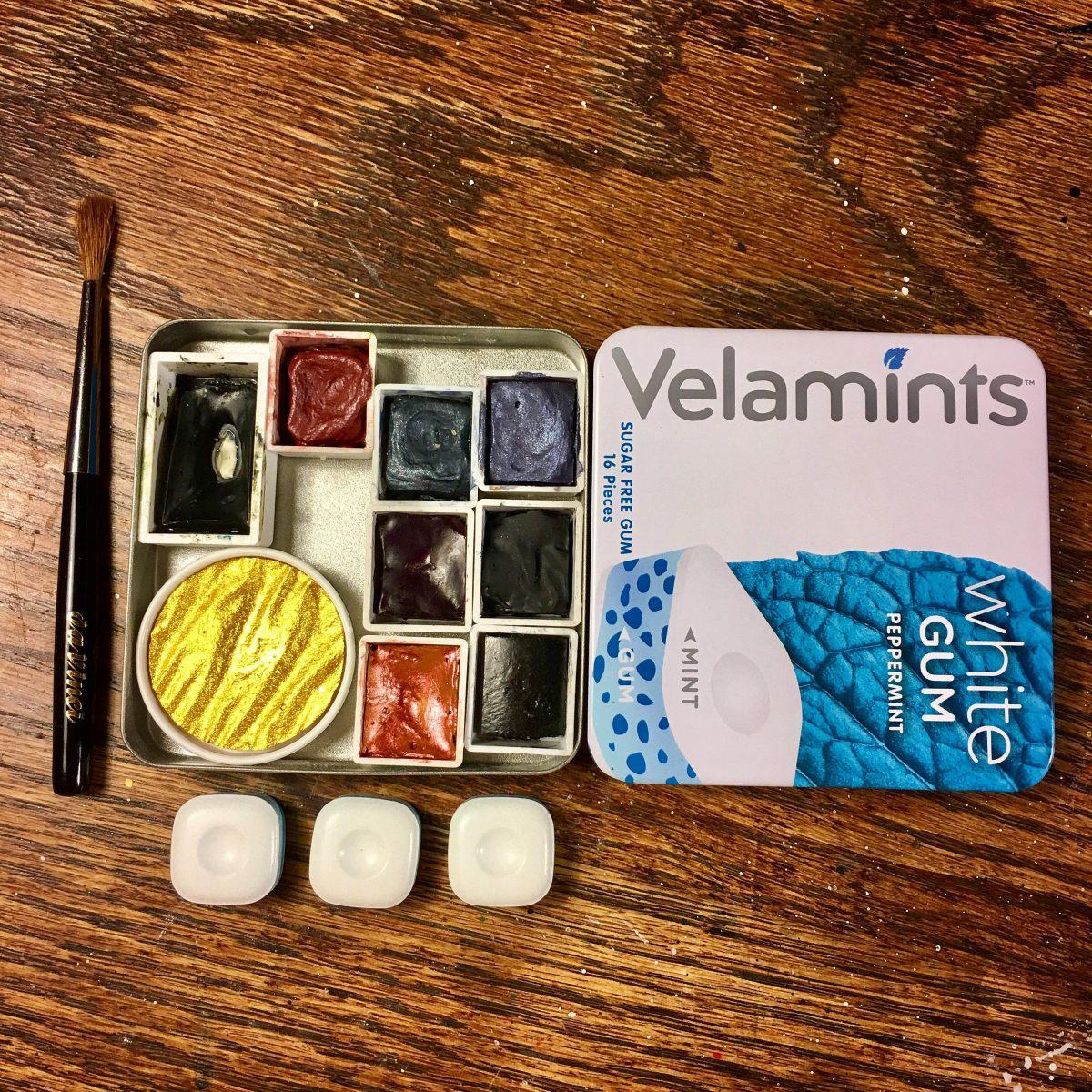 Velamints gum tin watercolor travel palette.