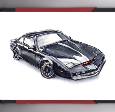 Day 15 - #WorldWatercolorGroup K.I.T.T. Car from Knight Rider David Hasselhoff tv show 80's