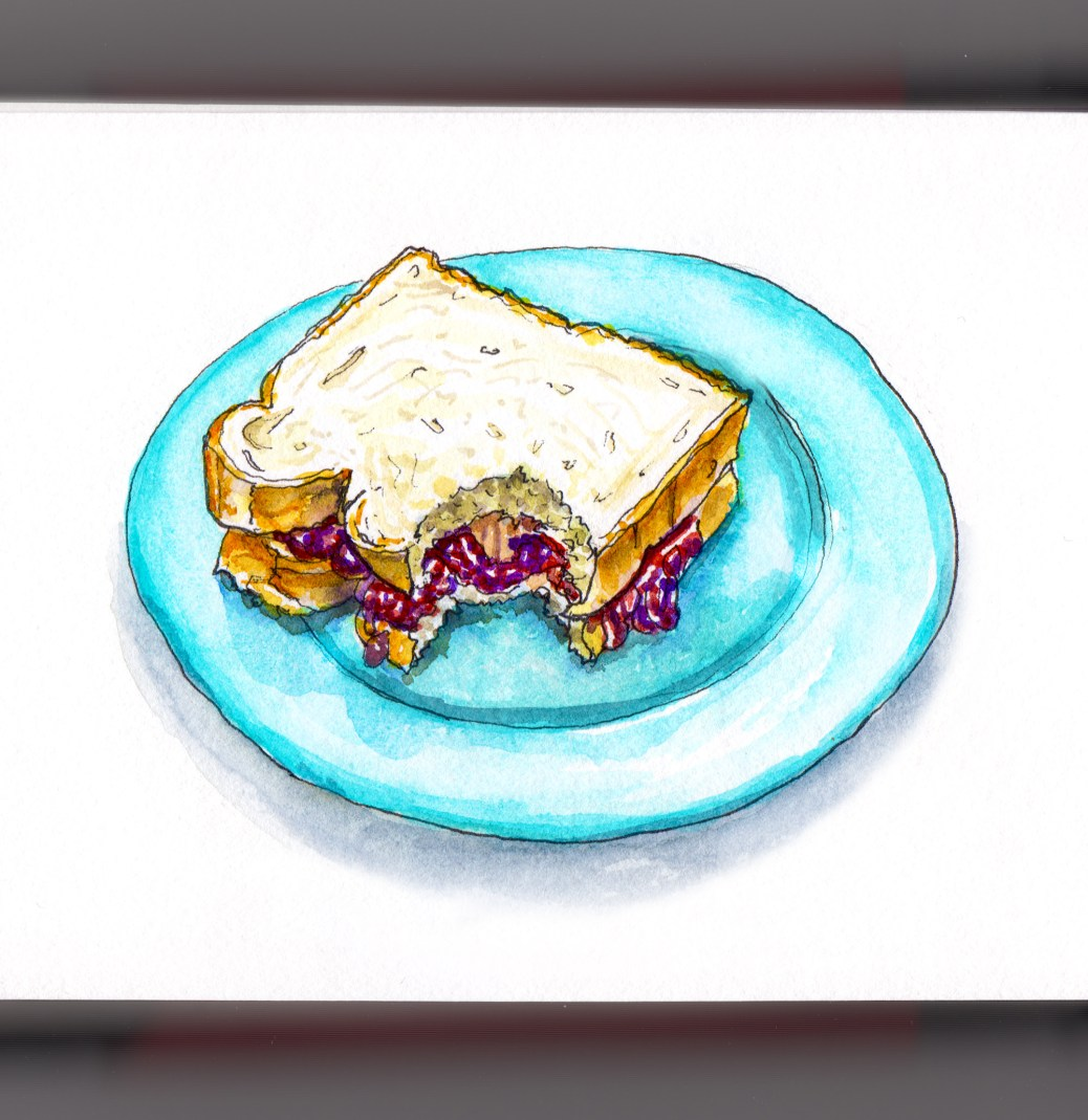 Day 24 - #WorldWatercolorGroup Peanut Butter and Jelly Sandwich for Peanut Butter Day on a plate