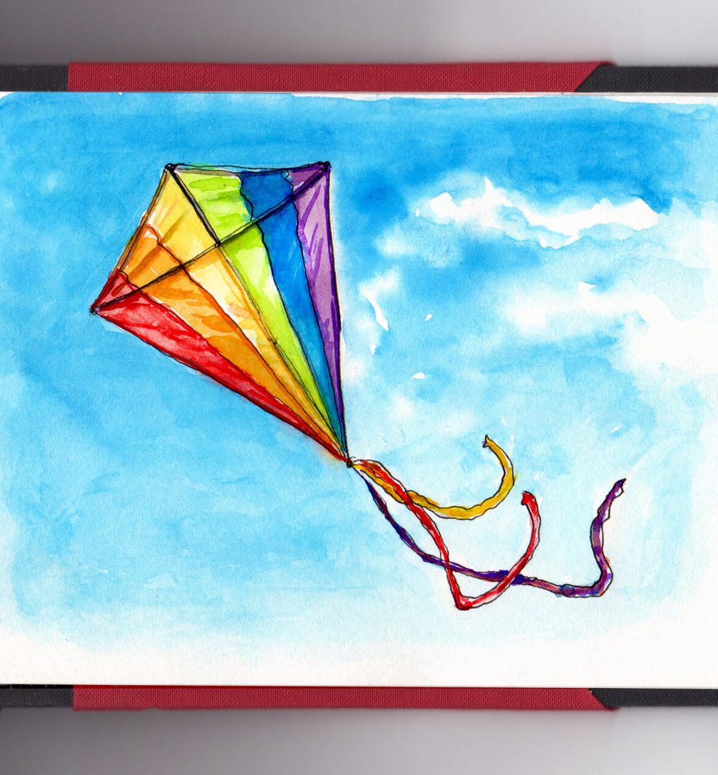 Day 27 - #WorldWatercolorGroup Go Fly A Kite Rainbow Kite On Blue Sky With Clouds Watercolor - #doodlewash