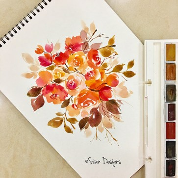 #WorldWatercolorGroup - watercolor painting of flowers by Shiela Sison - #doodlewash