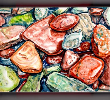 Day 16 - #WorldWatercolorGroup - Rock On Colorful Rocks In A Stream Watercolor - #doodlewash
