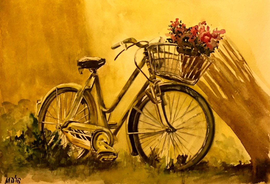 #WorldWatercolorGroup - Watercolor painting by Mimi Dimova of bicycle - #doodlewash
