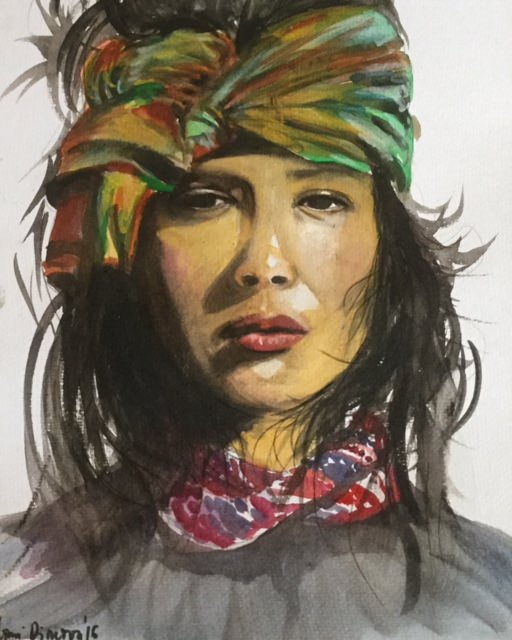 #WorldWatercolorGroup - Watercolor painting by Mimi Dimova - portrait of a woman - #doodlewash