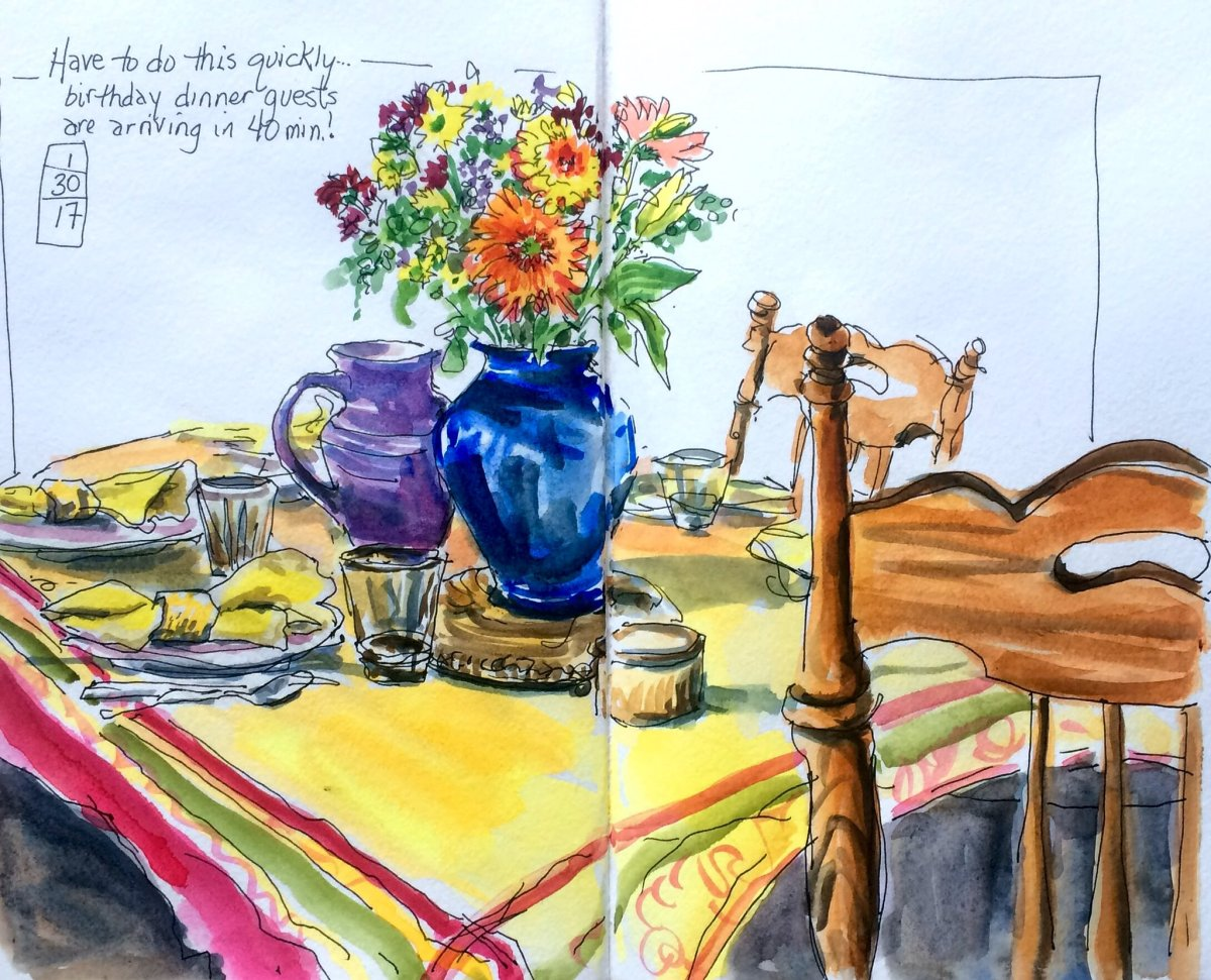 #WorldWatercolorGroup - Watercolor table setting with flowers by Leslie Rich - #doodlewash
