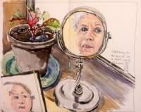 #WorldWatercolorGroup - Watercolor portrait in mirror by Leslie Rich - #doodlewash