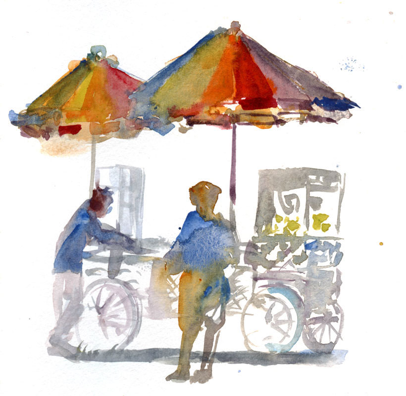 #WorldWatercolorGroup - Watercolor by Shiho Nakaza of food cart - #doodlewash