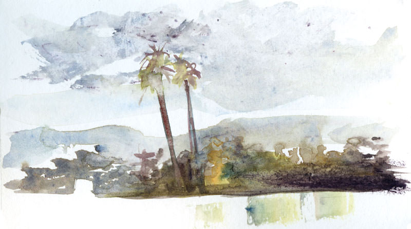 #WorldWatercolorGroup - Watercolor by Shiho Nakaza of clouds and palm trees - #doodlewash