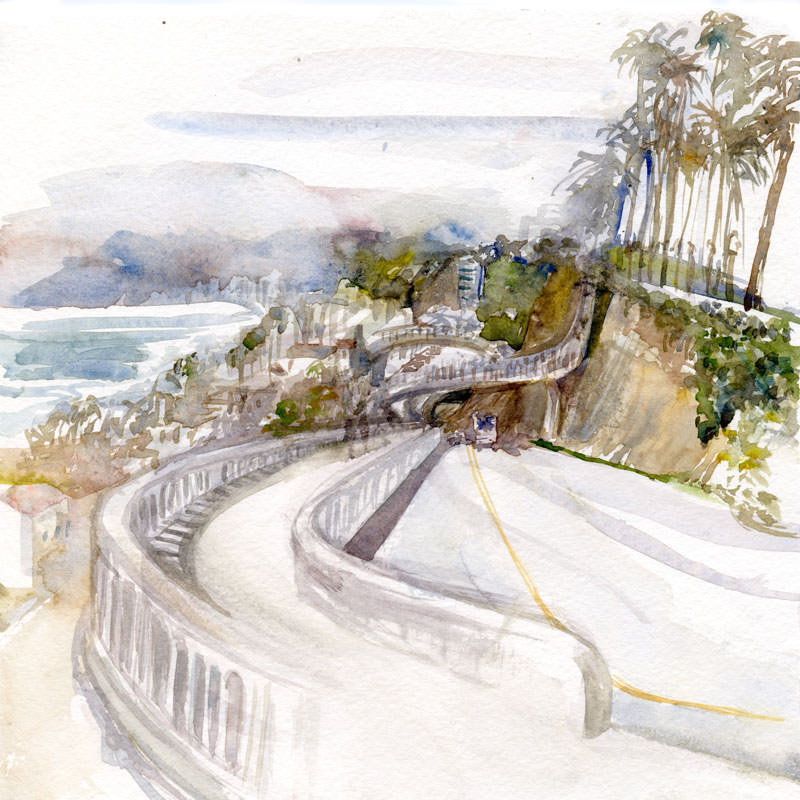 #WorldWatercolorGroup - Watercolor by Shiho Nakaza of Incline in Santa Monica California - #doodlewash