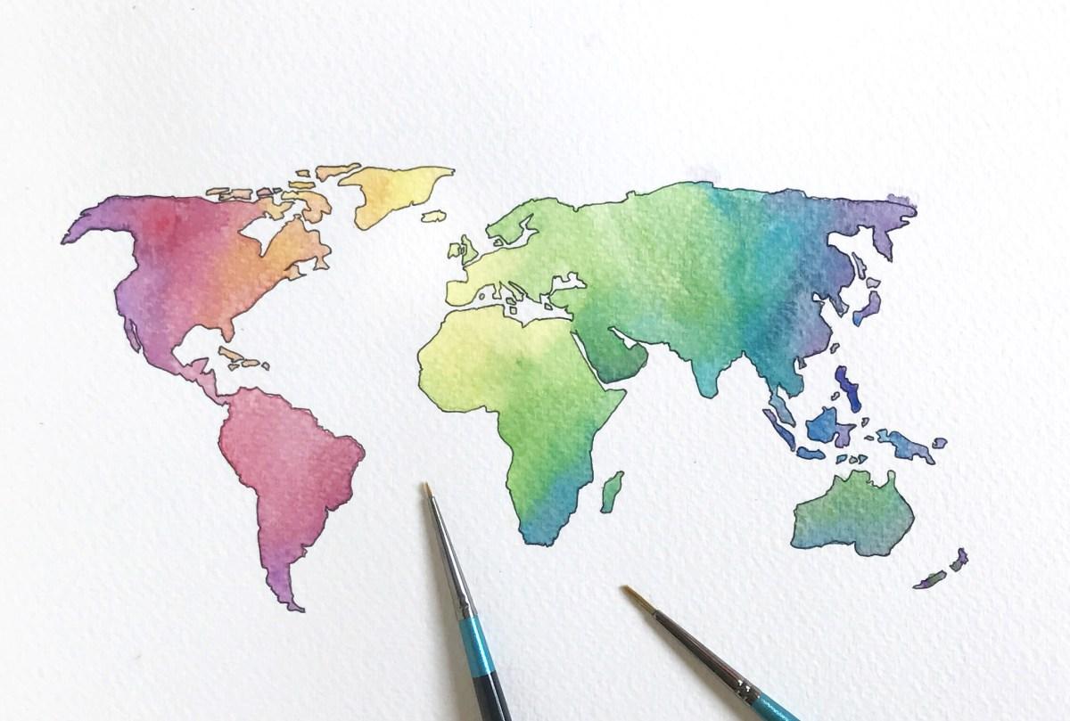 #WorldWatercolorGroup - Watercolor by Elizabeth Shana of world map - #doodlewash