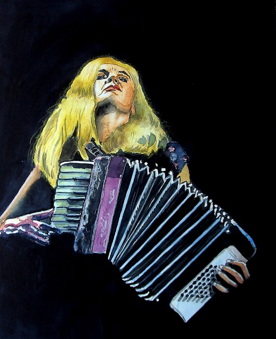#WorldWatercolorGroup - Painting of woman playing accordian by Joaquim Tusch - #doodlewash