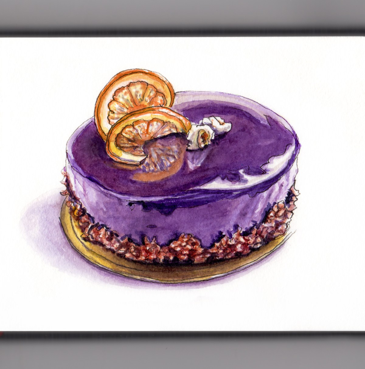 Day 12 - #WorldWatercolorGroup A Shiny Dessert Mirror Cake Watercolor - #doodlewash