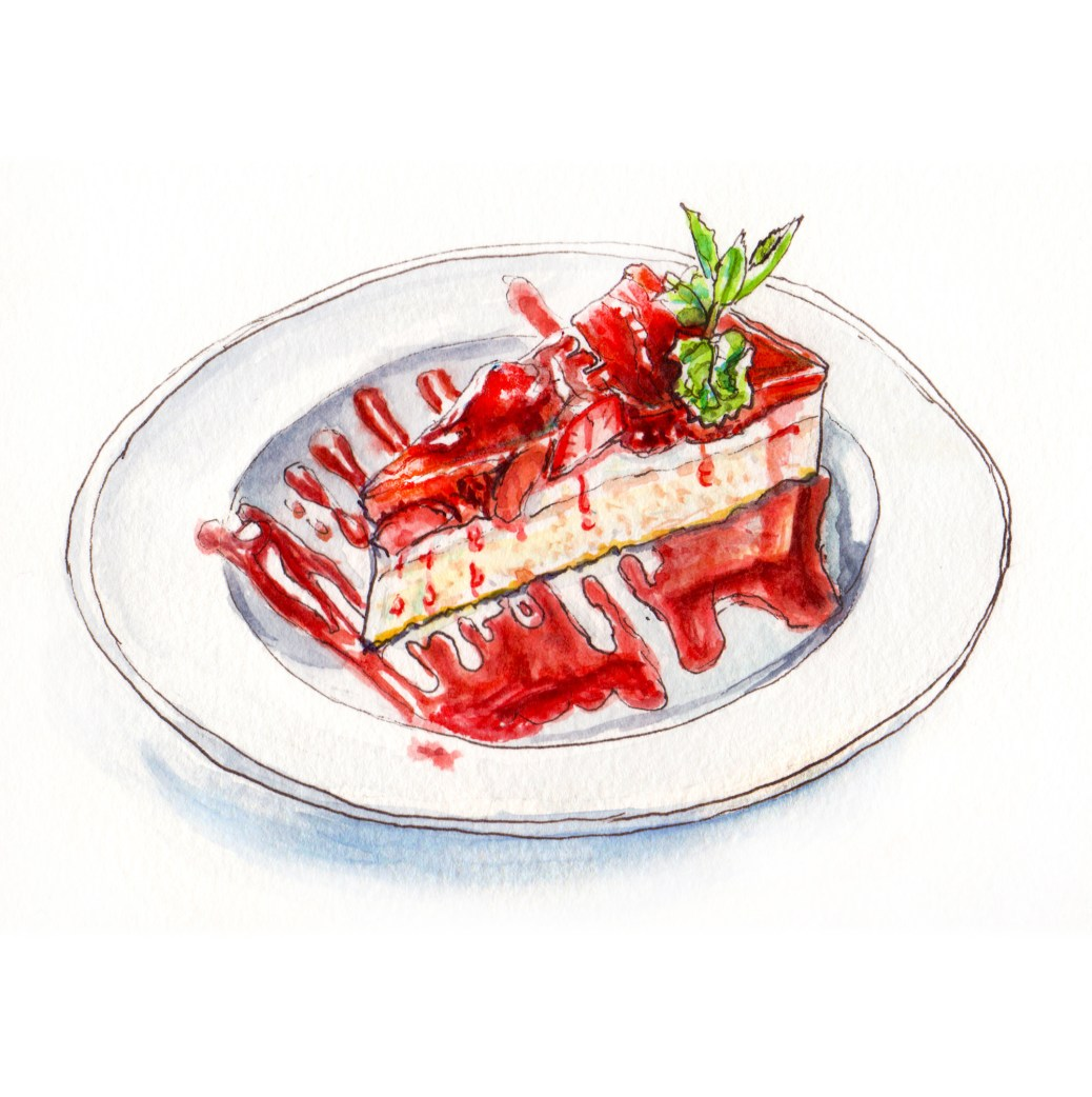 Day 18 - #WorldWatercolorGroup The Final Detail Strawberry Cake Dessert - #doodlewash
