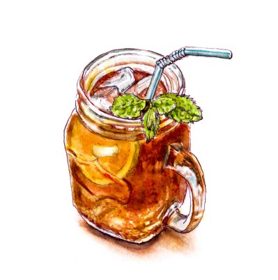 Day 26 - #WorldWatercolorGroup - How To Be Cool - Mason Jar Mug of Tea with Lemon and Mint - #doodlewash