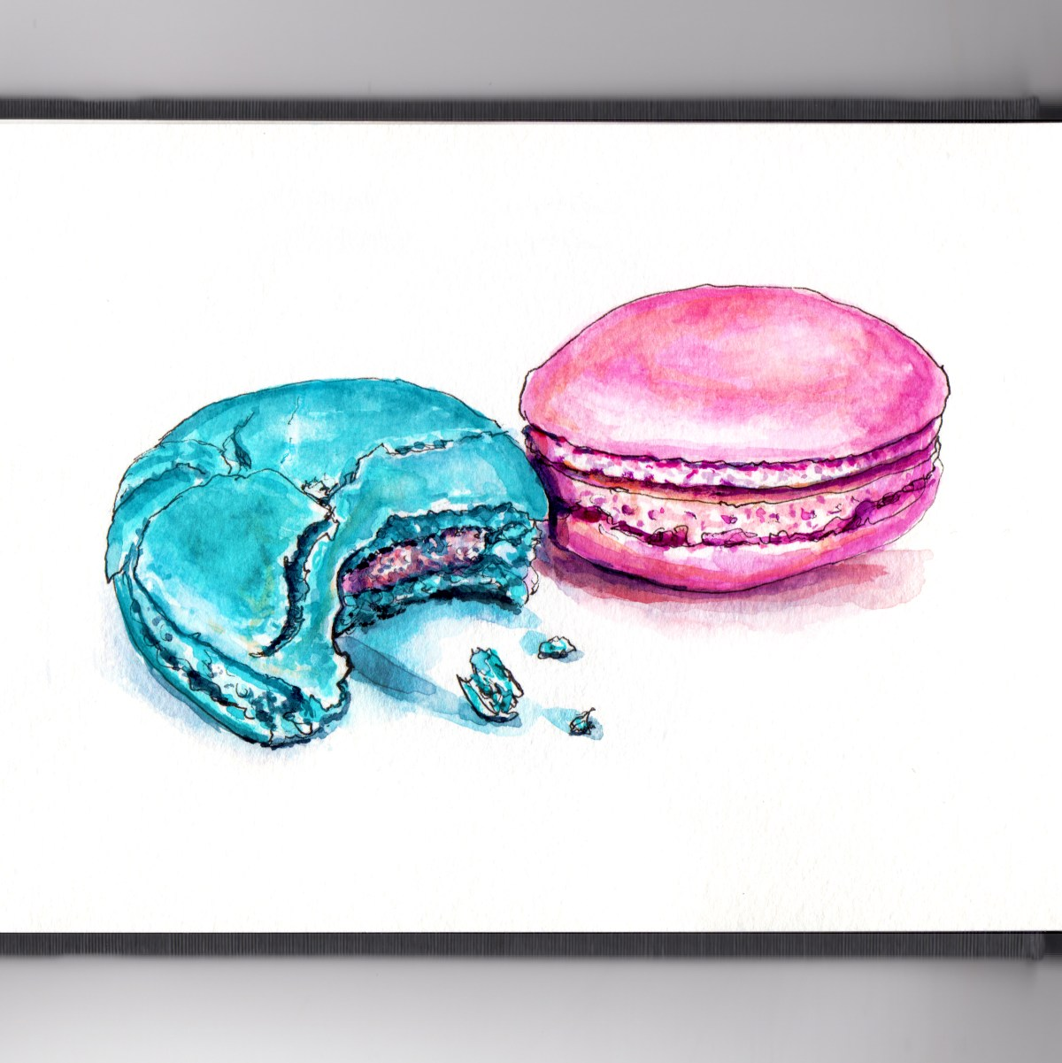 Day 27 - #WorldWatercolorGroup - When Things Get Rough Half Eaten Macaron Blue and Pink Macarons - #doodlewash