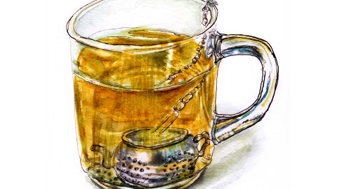 Day 28 - #WorldWatercolorGroup - Seeing The Light - Glass Mug With Tea Ball Teapot - #doodlewash