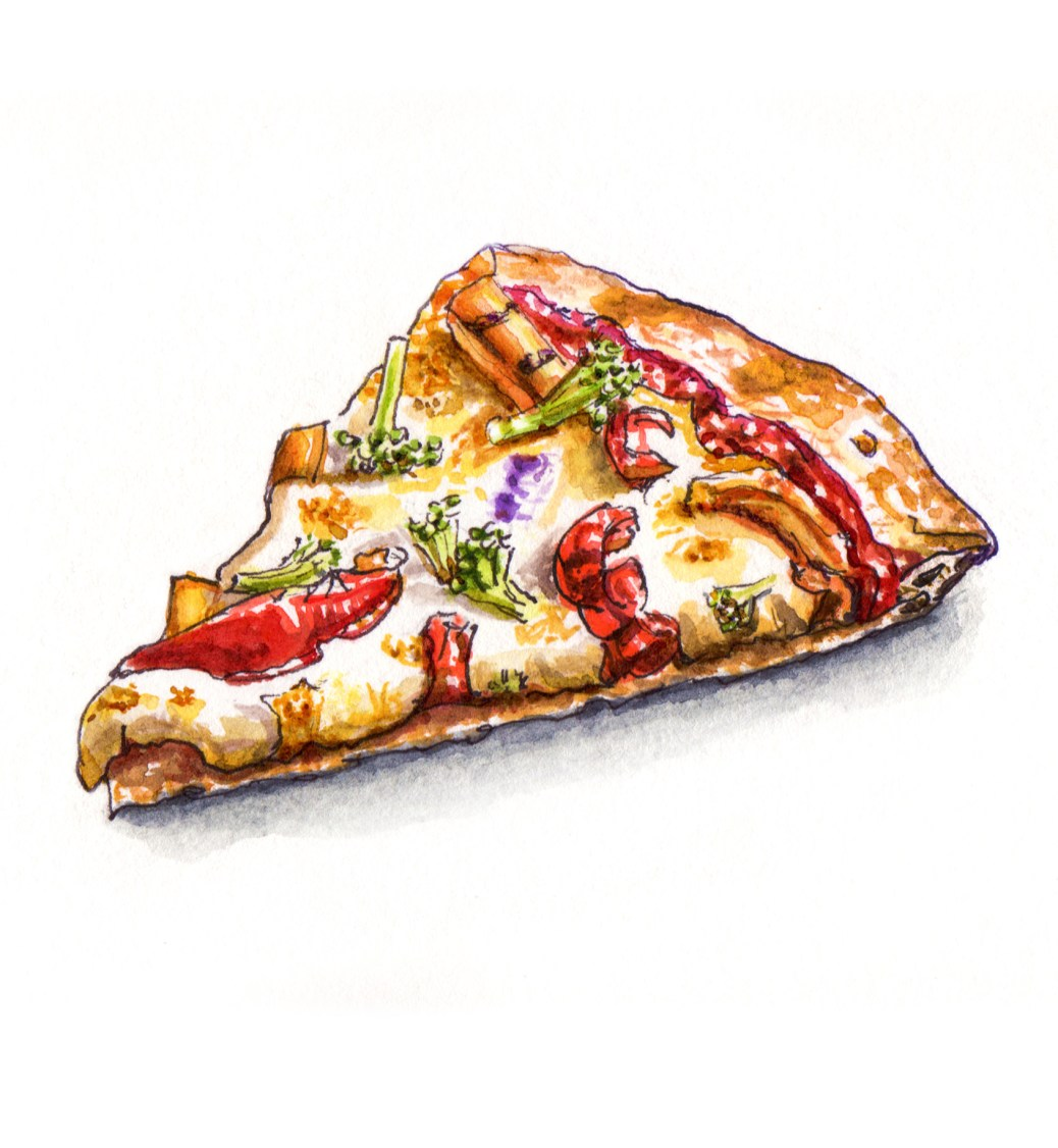 #WorldWatercolorGroup - Midnight Snacks Veggie Slice of Vegetarian Pizza - #doodlewash