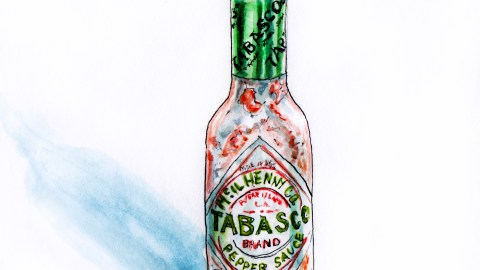 #WorldWatercolorGroup - Tabasco Hot Pepper Sauce Bottle Watercolor - #doodlewash