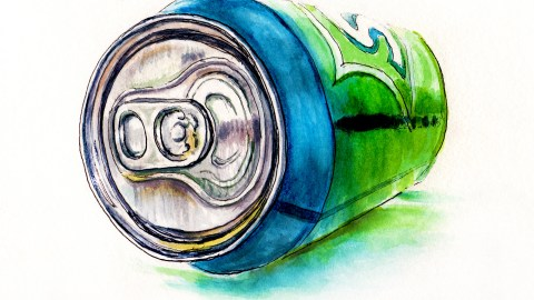 #WorldWatercolorGroup - A Bubbly Perspective - Sprite Can on White Background Watercolor - #doodlewash