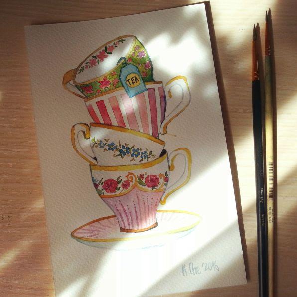#WorldWatercolorGroup - Watercolor by Katiya Che of teacups - #doodlewash
