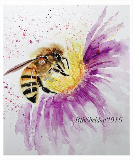 #WorldWatercolorGroup - Watercolor painting of bee by Rocelee F. Benedicto-Sheldon - #doodlewash