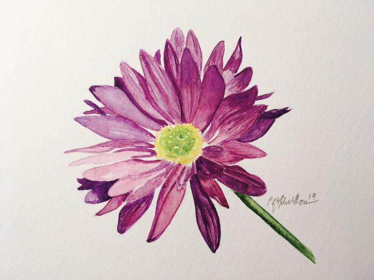 #WorldWatercolorGroup - Watercolor painting of flower by Rocelee F. Benedicto-Sheldon - #doodlewash