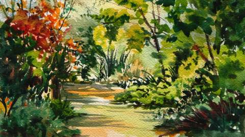 #WorldWatercolorGroup - Watercolor nature path by Leslie Rich - #doodlewash