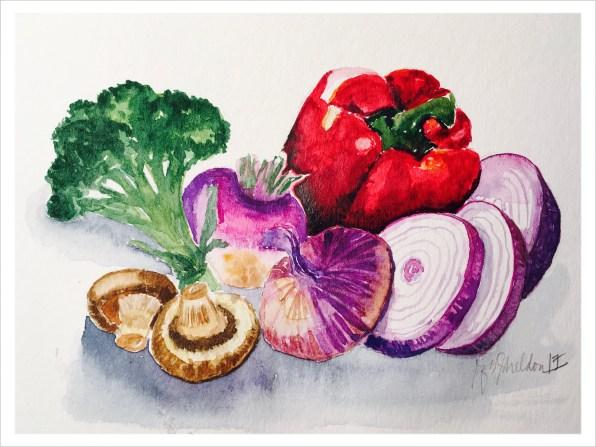 #WorldWatercolorGroup - Watercolor painting of vegetables by Rocelee F. Benedicto-Sheldon - #doodlewash